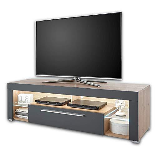 GOAL TV-Lowboard in Artisan Eiche Optik, Grau mit LED-Beleuchtung - hochwertiges TV-Board mit viel Stauraum für Ihr Wohnzimmer - 153 x 44 x 44 cm (B/H/T)