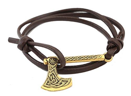 TEAMER Nórse Viking Hacha hecha a mano de múltiples capas Wrap pulsera de nudo irlandés amuleto joyería (estilo 6)