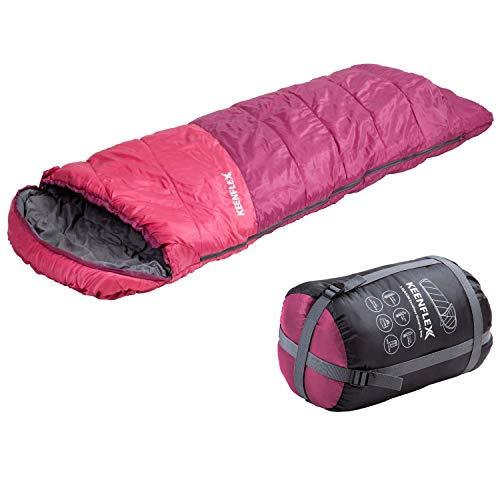 KeenFlex Schlafsack 3 Jahreszeiten Deckenschlafsack Ideal für Camping Backpacking oder Wandern (Rosa)