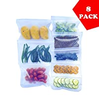 再利用可能なストレージバッグ – 8パック (ランチバッグ2個、サンドイッチバッグ3個&スナックバッグ3個) | 漏れ防止 | 極厚 | サンドイッチバッグ | 再利用可能なジップロックバッグ | PEVABPAフリー | プラスチックフリーバッグ | 冷凍庫使用可