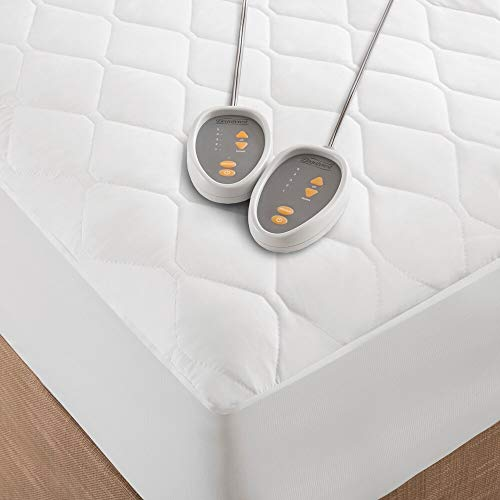 Beautyrest King Size Heated Mattress Pad with Dual Control and Timer. These Cotton Polyester Blend Mattress Pads Make a Great Alternative to an Electric Heating Throw Blanket. These Bed Toppers are the Best and Fastest Way to Heat Up Your Matress!