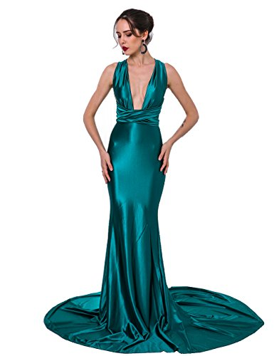 Miss ord Women Sexy V Neck Sleeveless Long Halter Party Dress (X-Small, Green)