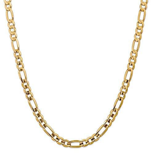 14k Yellow Gold 7.5mm Concave Link Figaro Chain Necklace 24 Inch Pendant Charm Fine Jewellery For Women Gifts For Her