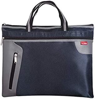 Chris.W 1Pack Zippered Canvas Document Storage Bag for A4/US letter Size Files/Bills/Documents/Tablets, Meeting&Business Trip Handbag/Briefcase/Holder/Organizer with Top Handle(Blue)