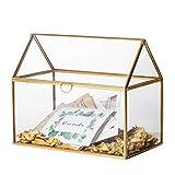 NCYP Caja grande de cristal geométrico para terrario, forma de casa, latón, oro, recibo de boda, centro de mesa de recuerdo, resistente, (solo caja de vidrio)