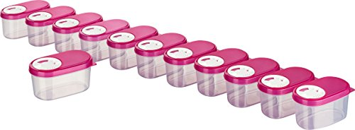 MiraHome Gewürzdosen Schüttdosen Streudosen Vorratsdosen 0,14l 12er Set pink Austrian Quality