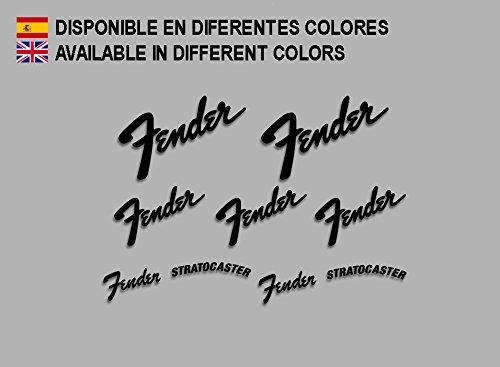 """Ecoshirt, EL-SOFN-4WMU, Aufkleber mit den Worten: """"Fender"""" und """"Fender Stratocaster"""", Farbe: schwarz."""