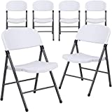 Flash Furniture 6 Pk. HERCULES Series 330 lb. Capacity Granite White Plastic Folding Chair with Charcoal Frame