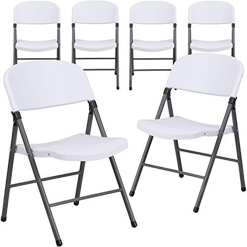 Flash Furniture 6 Pack HERCULES Series 330 lb. Capacity Granite White Plastic Folding Chair with Charcoal Frame