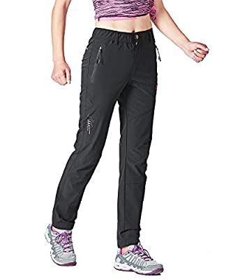 Gopune Women's Outdoor Hiking Pants Lightweight Quick Dry Water Resistant Mountain Trouser, Black, Large