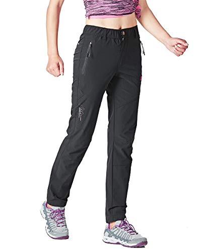 Gopune Women's Outdoor Hiking Pants Lightweight Quick Dry Water Resistant Mountain Trouser, Black, X-Large