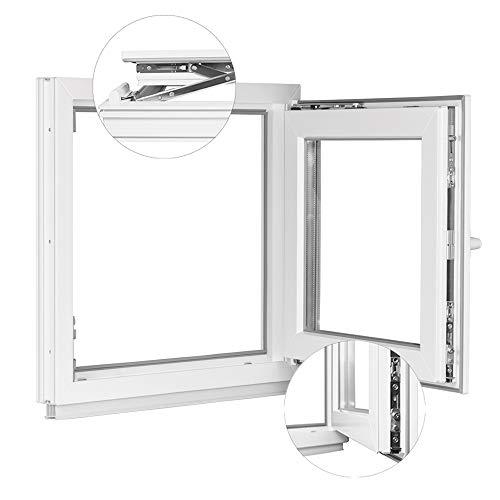 Premium Kunststofffenster Von Komforta - Kellerfenster Weiß BxH 400 x 500 mm - Garagenfenster/Gartenhaus Fenster BxH 40 x 50 cm 2-fach Verglast - Din Links-Funktion Dreh Kipp Fenster-Alle Größen