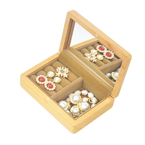vvhu Small Wood Jewelry Box with Mirror Portable Travel Jewelry Case Display Storage Case for Ring Necklace Bracelet Earrings Hair Tie (Yellow)