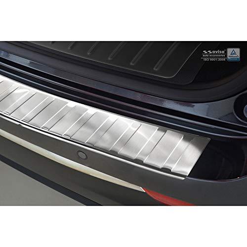Avisa Protection de seuil arrière inox Noir-Chromé compatible avec Volkswagen Tiguan II incl. Allspace 2016- 'Ribs'