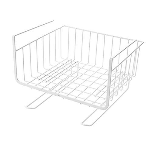 Xuping Nder plank tafel opslag mandje, keuken draad mesh onder kast organisator mand met twee haken voor keuken Pantry Bureau boekenkast kast
