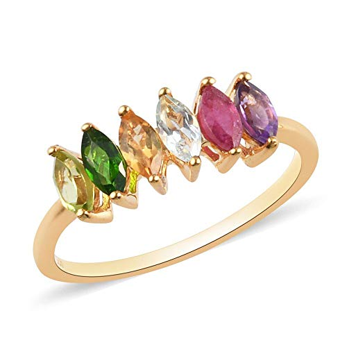 TJC Multi Gemstone Six Stone Ring for Womens in 14ct Gold Plated 925 Sterling Silver Size S Red Gemstone July Birthstone, TCW 0.94ct