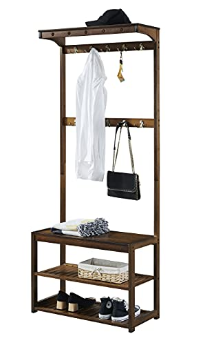 SEIRIONE Bamboo Coat Rack Shoe Bench, 5 in 1 Design Hall Tree Entryway Storage Organizer for Mudroom, Hallway, Foyer etc, 10 Double Hooks, 1 Top Shelf, Easy Assembly, Vintage