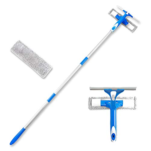 Als Ellan Professional 3 in 1 Window Squeegee with Microfiber Scrubber, 59' Window Cleaning Kit, All Purpose Outdoor Window Glass Cleaner Tool with Spray Head & Extension Pole for High Window (2 Pad)