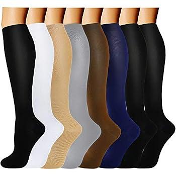 8 Pairs Compression Socks Women & Men -Best Medical,Nursing,Travel & Flight Socks-Running & Fitness,Pregnancy-15-20mmHg  L/XL Assorted 2