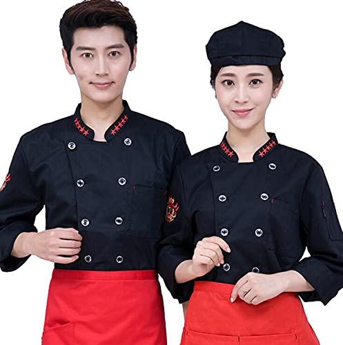 QWA Unisex Manica Lunga Ristorante Hotel Cucina Chef Giacca, Chef Abbigliamento da Lavoro Uniforme per Uomini e Donne, Doppiope