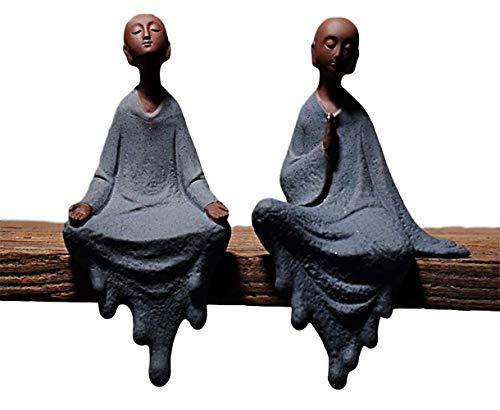 QMZDXH Buddha Statue Sitzend, Keramik-Figur, Kleiner Süßer Buddha, Mönch-Figur, Ornamente Geschenk, Chinesische Zarte Keramik Kunst Und Handwerk