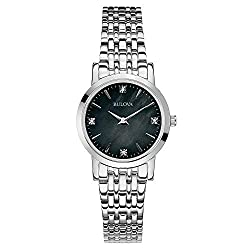 Stainless Steel with 4 Diamonds On A Black Mother-Of-Pearl Dial