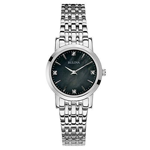 Bulova Women's 96P148 Diamond Gallery Analog Display Japanese Quartz White Watch, Silver