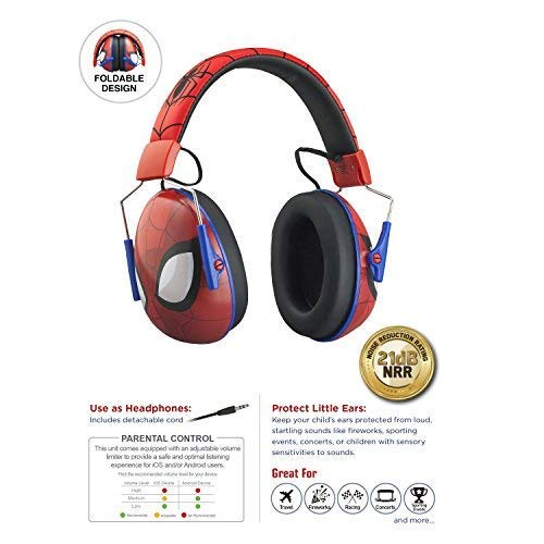 Spiderman Kids Ear Protectors Earmuffs Toddler Ear Protection and Headphones 2 in 1 Noise Reduction and Headphones for Kids Ultra Lightweight Adjustable Safe Sound Great for Concerts, Shows, and More