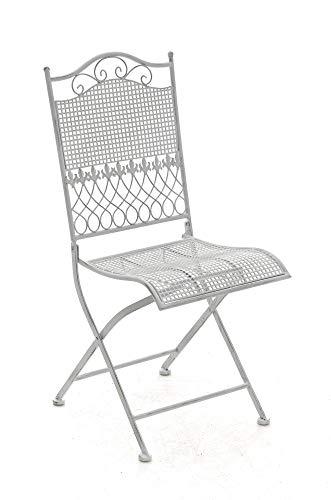 Chaise de Jardin Kiran Pliante en Fer Forgé - Chaise de Terrasse ou Balcon - Hauteur de l'Assise: 45 cm Fauteuil de Jardin Pliable Confortable - Couleur:, Couleurs:Antique Blanc