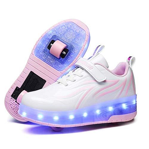 TTW Niños LED Luminoso Ruedas Dobles Patines de Ruedas Zapatos con Carga USB Zapatos de Patineta con Ruedas Retráctiles Deportes al Aire Libre Zapatillas de Gimnasia para Niños Niñas,Blanco,33
