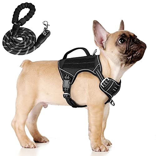 Tactical Dog Harness No Pull, KROMEN Dog Training Harness and Leash Set, Reflective Dog Vest with Handle, Dog Working Harness with Molle Panel for Small Medium Large Dogs (Black, M)