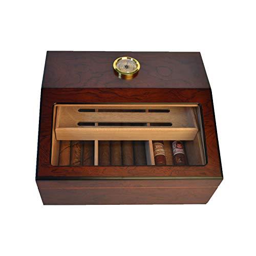 Rosewood Veneer Cigar humidor Display Glass humidor Large-Capacity Stylish...