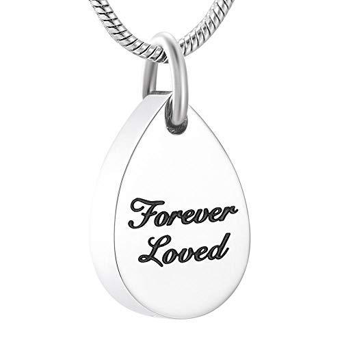 KBFDWEC Memorial Jewelry Forever Loved Forma de lágrima Cremación Cenizas Collar de urna Colgante de Recuerdo
