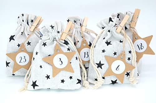 24 sacchettini di stoffa stelle beige calendario dell'Avvento 95 X 135 mm ghirlanda ciondolo stelle adesivi graffette