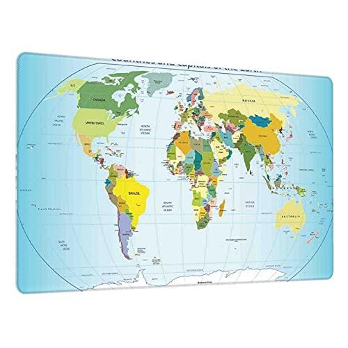 Alfombrilla de ratón para Juegos,Mapa Mundial con países y Capitales Tierra con océanos Lagos Arte gráfico,Escritura de Escritorio Impermeable de Goma Antideslizante para Oficina y hogar 800×300×3mm