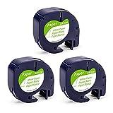 Airmall kompatible Etikettenband als Ersatz für Dymo Letratag Etikettenband 12mm x 4m Papier Dymo Beschriftungsband 91220 91200 Schwarz auf Weiß für LetraTag XR LT-100H LT-100T LT-110T, 3-Pack