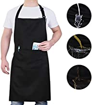 Will Well 1 Pack Adjustable Bib Apron, Water Oil Stain Resistant Cooking Kitchen Apron with 2 Pockets for Women Men Chef, Black
