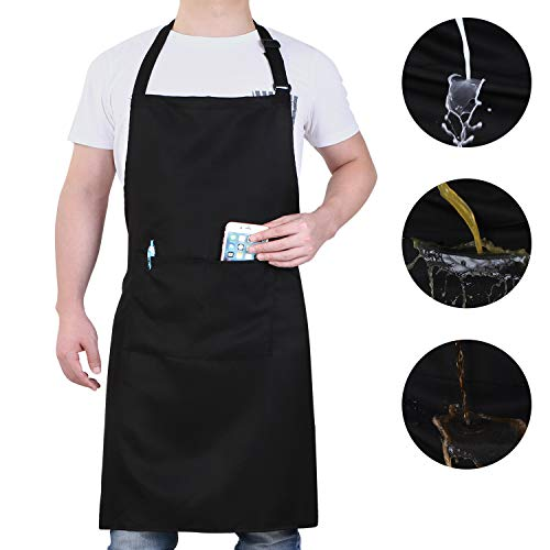 Will Well Adjustable Bib Aprons, Water Oil Stain Resistant Black Chef Cooking Kitchen Aprons with Pockets for Men Women (1 Pack)