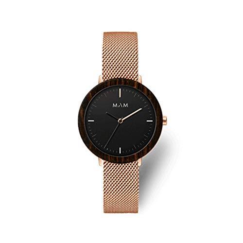 Reloj MAM mujer con malla milanesa en acero rosado.675