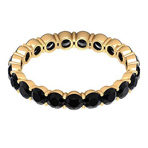 2.50 CT Black Diamond Eternity Ring (AAA Quality), 14K Yellow Gold, Size:UK L1/2
