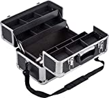 Meister Maletín multiusos de 355 x 240 x 225 mm, gran espacio de almacenamiento, compartimentos separables, con cerradura, incluye 2 llaves y correa, maletín de cosméticos, maletín de tijeras, 9095040