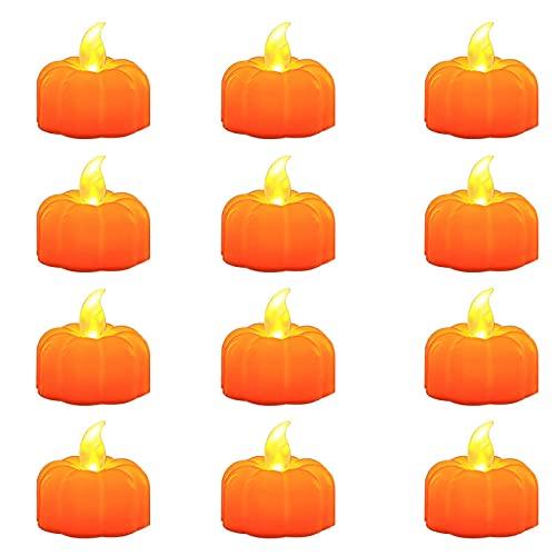 Yius 12 luces LED de calabaza de Halloween, 3D, luces de té sin llama, funciona con pilas, luz blanca cálida de calabaza para decoraciones de Halloween (C)