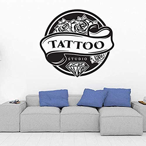 Etiqueta de la pared Tattoo Studio Logo Poster Impermeable Puerta de vidrio y ventana Etiqueta de papel tapiz 46X42Cm