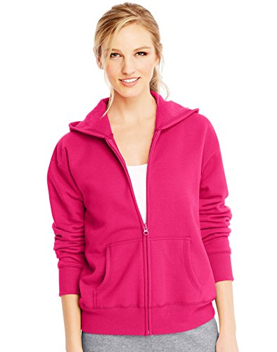 Hanes Women's EcoSmart Full-Zip Hoodie Sweatshirt, Sizzling Pink, Medium
