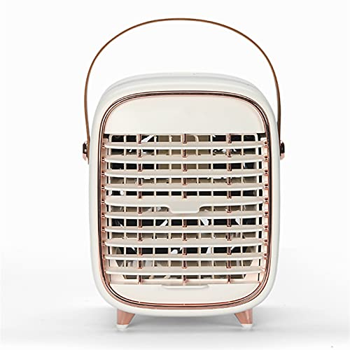 BUYYUB Ventilador Portátil, Enfriador De Aire Silencioso De Tres Velocidades con Función De Temporizador De Pulverización, Adecuado para La Oficina En Casa (Color : White)