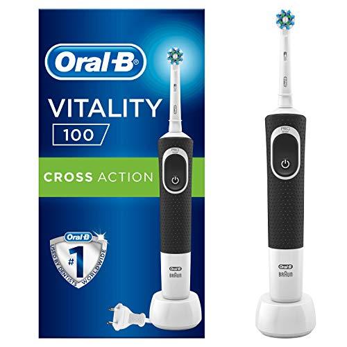 Oral-B Vitality 100 Brosse à dents électrique rechargeable, 1 manche noir, 1 tête CrossAction