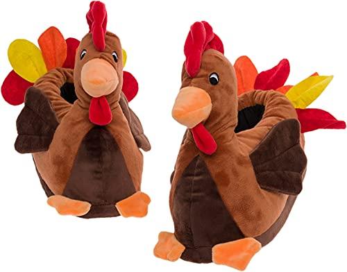 FUNZIEZ! - Turkey Slippers - Thanksgiving House Shoe - Stuffed Animal Slippers (XL)