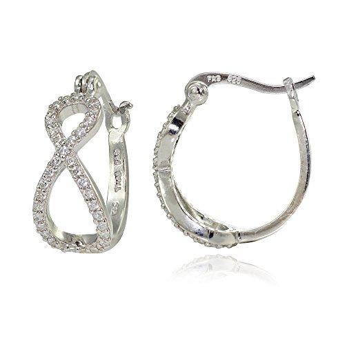 Sterling Silver Cubic Zirconia Infinity Hoop Earrings