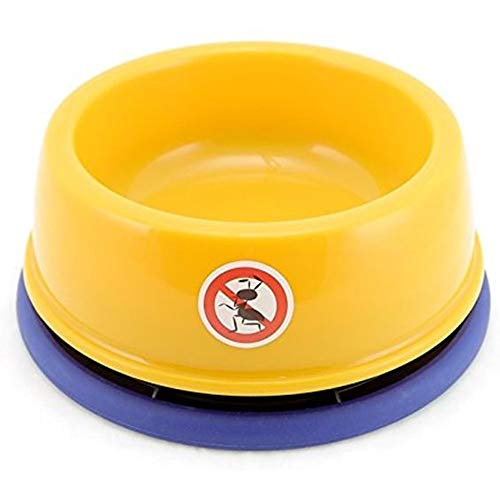 Dyl No-Ant Pet Bowl,for Puppy Smaller Dog or Cat,Plastic with Moat and Non-Slip,3 Cups(24Oz),Yellow