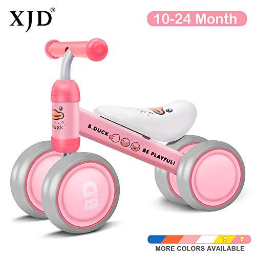 XJD Kinder Laufrad Lauflernrad Balance Fahrrad ohne Pedale Dreirad Spielzeug, Empfohlenes Alter: 10-24 Monate (Pink Ente)